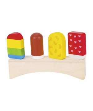 Խաղալիք «Goki Toys» փայտե պաղպաղակներ կայուն սեղանիկի վրա