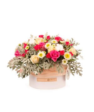 Composition `Stans` with rose, cotton and chrysanthemum