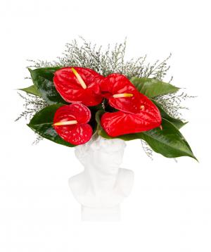 Կոմպոզիցիա «Ջենոլա» անթորիումներով և դաշտային ծաղիկներով