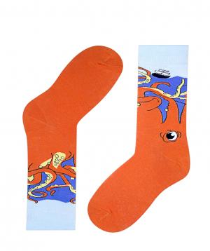 "Socks ""Zeal Socks"" octopus and ship"