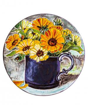 "Cheese plate ""ManeTiles"" decorative, ceramic №28"