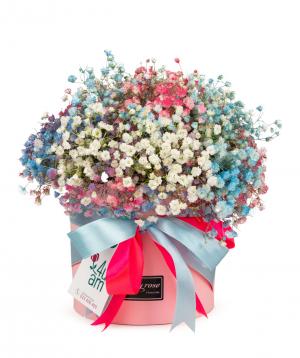 Bouquet `Pella` with gypsophilas