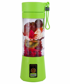Electric mini blender `Yoyo` with 6 sharp knives and USB charger 380ml (green)