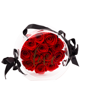 """Composition """"EM Flowers"""" with eternal red roses"""