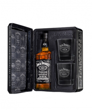 Whiskey `Jack Daniels` 700 ml in a box with glasses