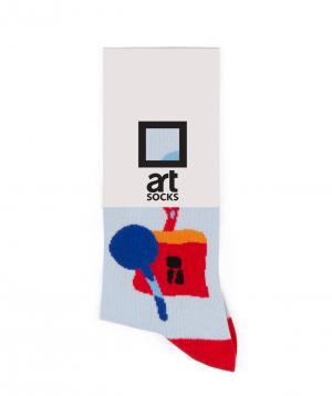 "Socks  ""Art socks"" with ""Silence"" painting blue"