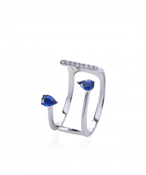 """Ring """"Lazoor"""" golden, with diamonds and sapphires №25"""