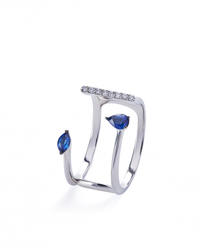 """Ring """"Lazoor"""" golden, with diamonds and sapphires №26"""