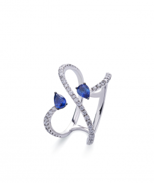 """Ring """"Lazoor"""" golden, with diamonds and sapphires №24"""