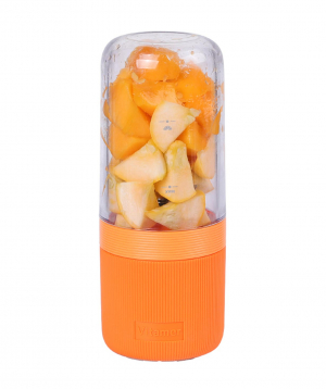 """VITAMER"" 400ml hand blender-cup with 4 sharp knives and USB charger (Orange)"