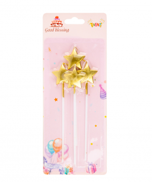 Candle in the form of a star, multicolored 4 pieces