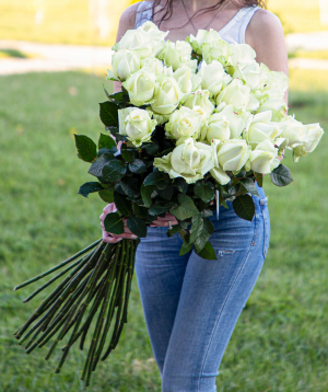 Roses  «White Naomi» white  29 pcs