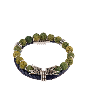 """Bracelet """"Ssangel Jewelry"""" men`s №8 leather, with natural stones"""