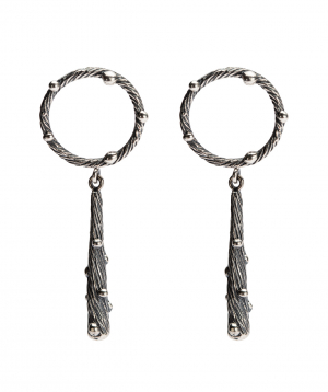 """Earrings """"DF Project"""" wild silver №4"""