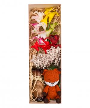 "Flowers ""Bella Flowers"" in a box, artificial №3"