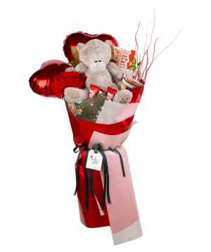 Bouquet `San Diego` with sweets, rose and teddy bear