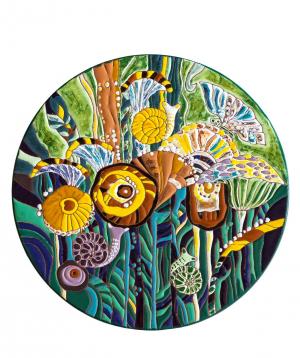 "Cheese plate ""ManeTiles"" decorative, ceramic №30"