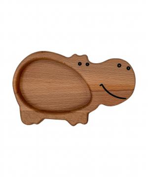Eco plate `WoodWide` hippopotamus