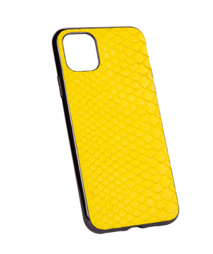 """Case """"Monarch"""" for phone, plastic, with a combination of genuine phyton leather №11"""