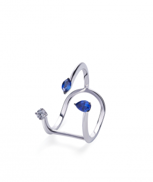 """Ring """"Lazoor"""" golden, with diamonds and sapphires №27"""