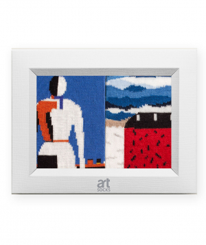 Socks with Red House and Woman with Rake, 2 pairs