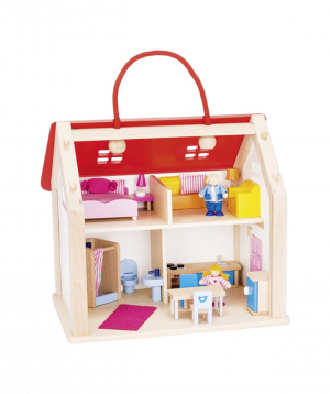 Toy `Goki Toys` suitcase doll's house with accessories