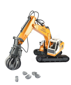 Toy excavator, remote controlled