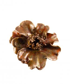 """Brooch-needle """"CopperRight"""" velvet flower"""