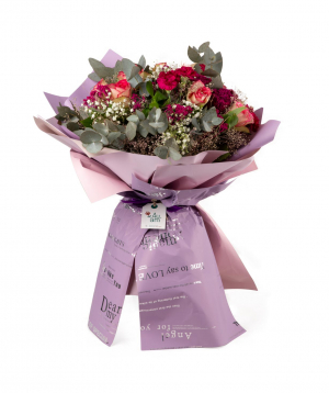 """Bouquet """"Miraflores"""" with roses, kalas, chrysanthemums and gypsophilas"""