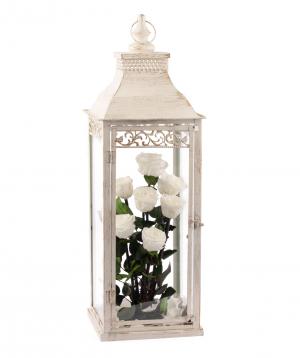 Կոմպոզիցիա «EM Flowers» հավերժական սպիտակ վարդերով