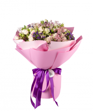 Bouquet `Zvedru` of roses, limoniums, gypsophila