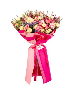 Ծաղկեփունջ «Ալոնդրա» վարդերով, փնջային վարդերով, լիզիանտուսներով և լիմոնիումներով