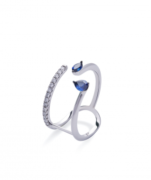 """Ring """"Lazoor"""" golden, with diamonds and sapphires №23"""