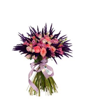 Ծաղկեփունջ «Ջիոմելա» վարդերով, փնջային վարդերով