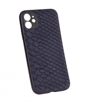 """Case """"Monarch"""" for phone, silicon, with a combination of genuine phyton leather №4"""