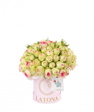 Composition `Selen` with bush peony roses