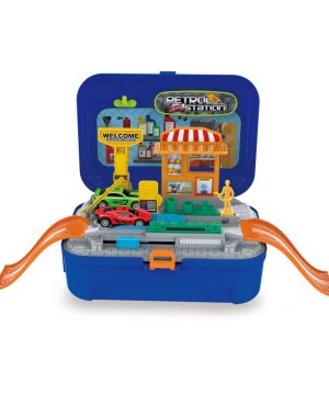 Toy backpack-suitcase, with gas station