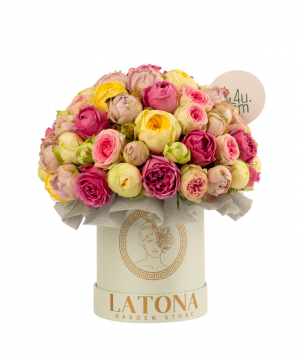 Composition `FORTUNA MINI` with peony roses