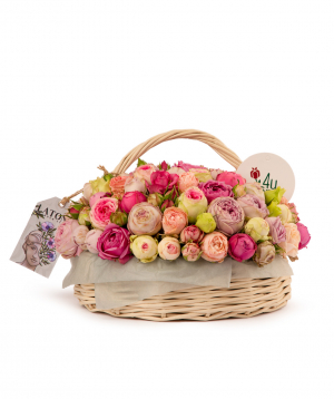 Composition `JUNE` with peony roses