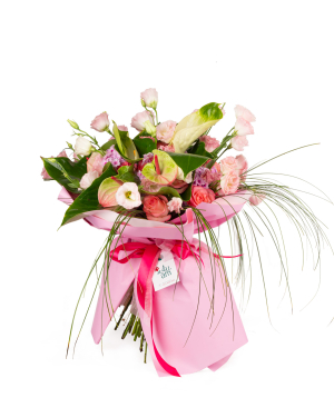 Bouquet `Lukinda` with roses, anthuriums, lisianthus