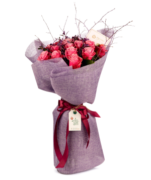 """Bouquet """"Aller"""" with pink roses"""