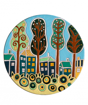 "Cheese plate ""ManeTiles"" decorative, ceramic №37"