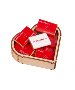 """Box """"Gourme Dourme"""" with chocolate candies, wooden"""