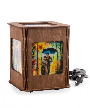 "Lantern ""Walk in the rain"" wooden"