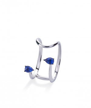 """Ring """"Lazoor"""" golden, with sapphires №29"""