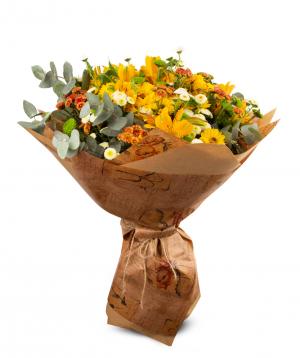 Ծաղկեփունջ «Տրեվիսո» վարդերով և ալստրեոմերիաներով