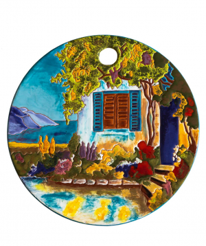 "Cheese plate ""ManeTiles"" decorative, ceramic №25"