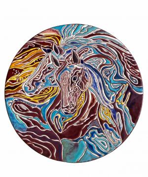 "Cheese plate ""ManeTiles"" decorative, ceramic №34"