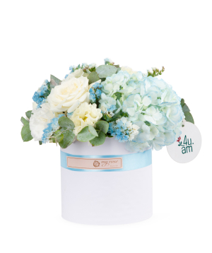 Composition `Apencel` with hydrangea, rose, lisianthus and limonium