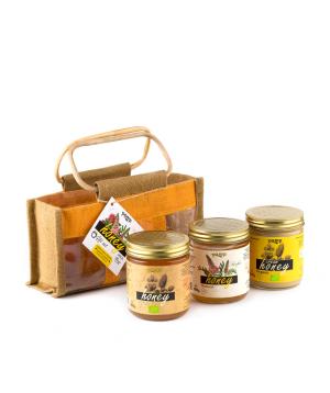 Հավաքածու «Pamp Honey» մեղրների, վուշե պայուսակով